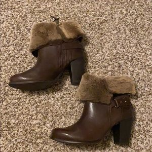 Leather fur lined UGG booties (NEVER WORN)